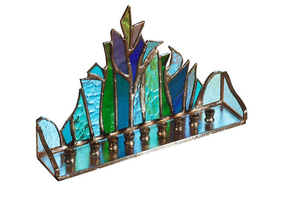 Recycled Hanukkiah חנוכייה מזכוכית צבעונית בעבודת יד