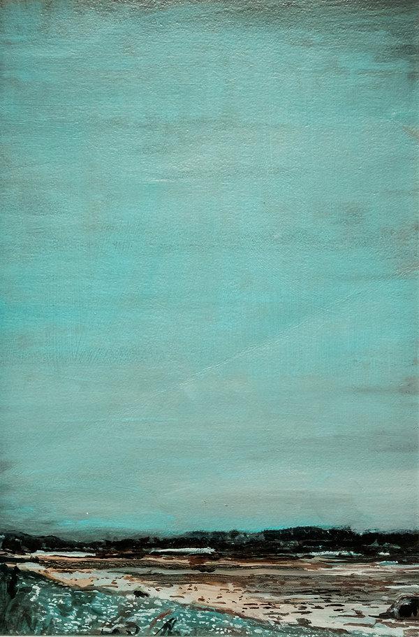 Estudio para Rio Maipo, el curo natural de las cosas, oleo 2015. 35 x 17,5 cm.