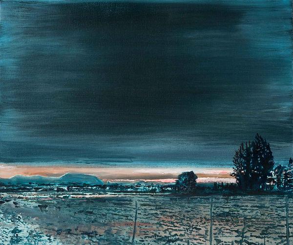 Atardecer en Pirque, oleo 2016. 55 x 65 cm.