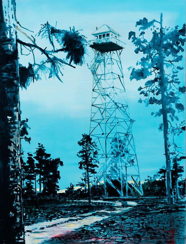 Torre y vigía, oleo 2017. 180 x 135 cm.