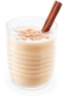 eggnog in glass isolated on white backgr