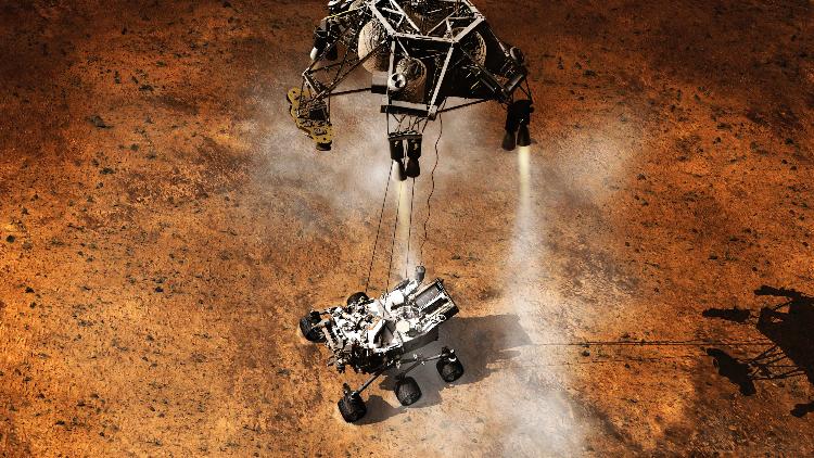 Navicella e Rover al momento dell'atterraggio su Marte