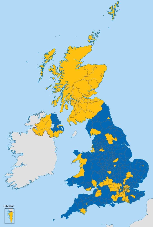 Distribuzione dei voti al referendum del 2016