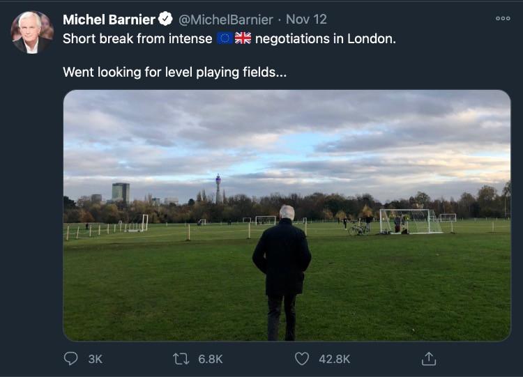 Tweet di Michel Barnier a proposito del level playing field
