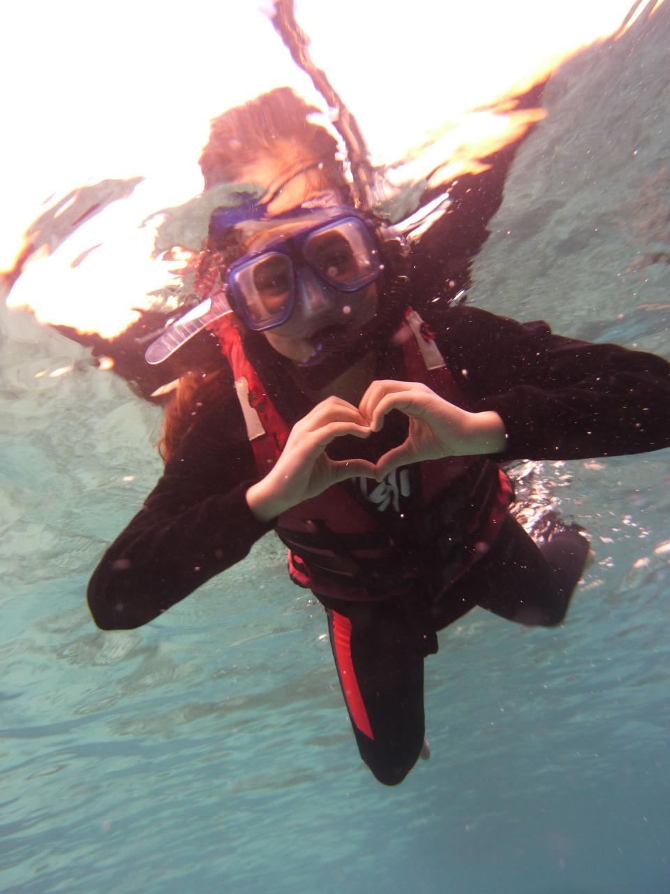 snorkeling from underwater
