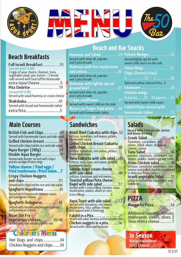 aqua sport food menu eng