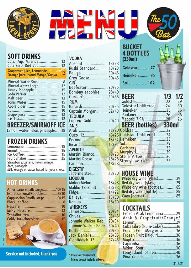 aqua sport drinks menu eng