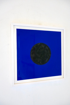 Dot on Blue, acrylic and iron on paper L