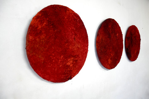 Red, soil and pigments on wood, 2020.