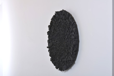 Mandala, charcoal on wood panel, 80 cm, 2019. © photo Serge Verheylewegen
