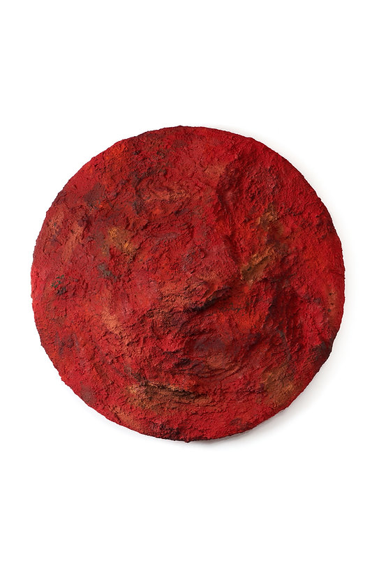 Red, soil, pigments and mixed medias, 100 cm, 2021.