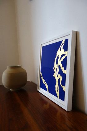 Light on blue, 1, acrylic and gold leaf