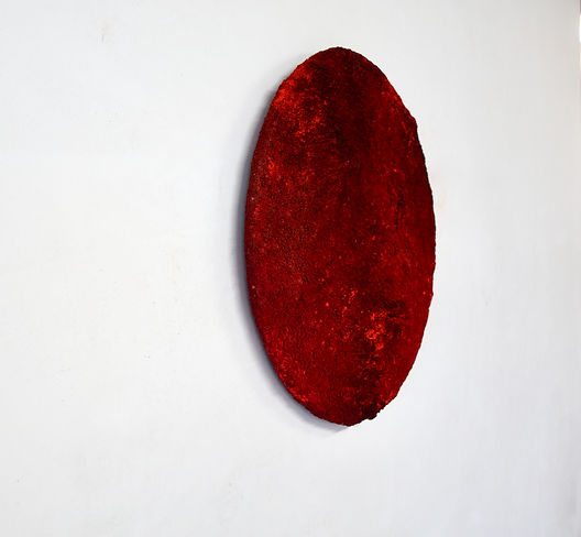 Red, soil and pigment on wood, Ø 80 cm,