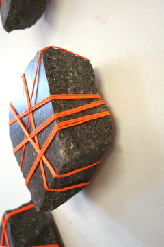 Rock Bondage, granite and cord, variable sizes, 2019.