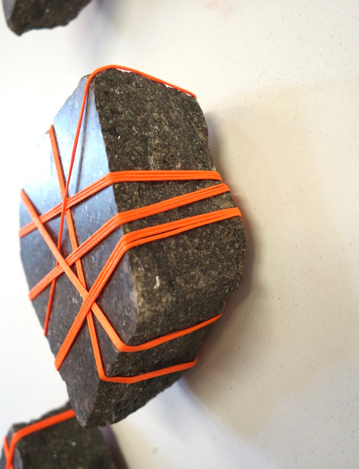 Rock Bondage, granite and cord, variable sizes, 2019.