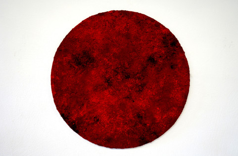 Red 20. 04, pigments, soil and charcoal on wood, 100 cm, 2019.
