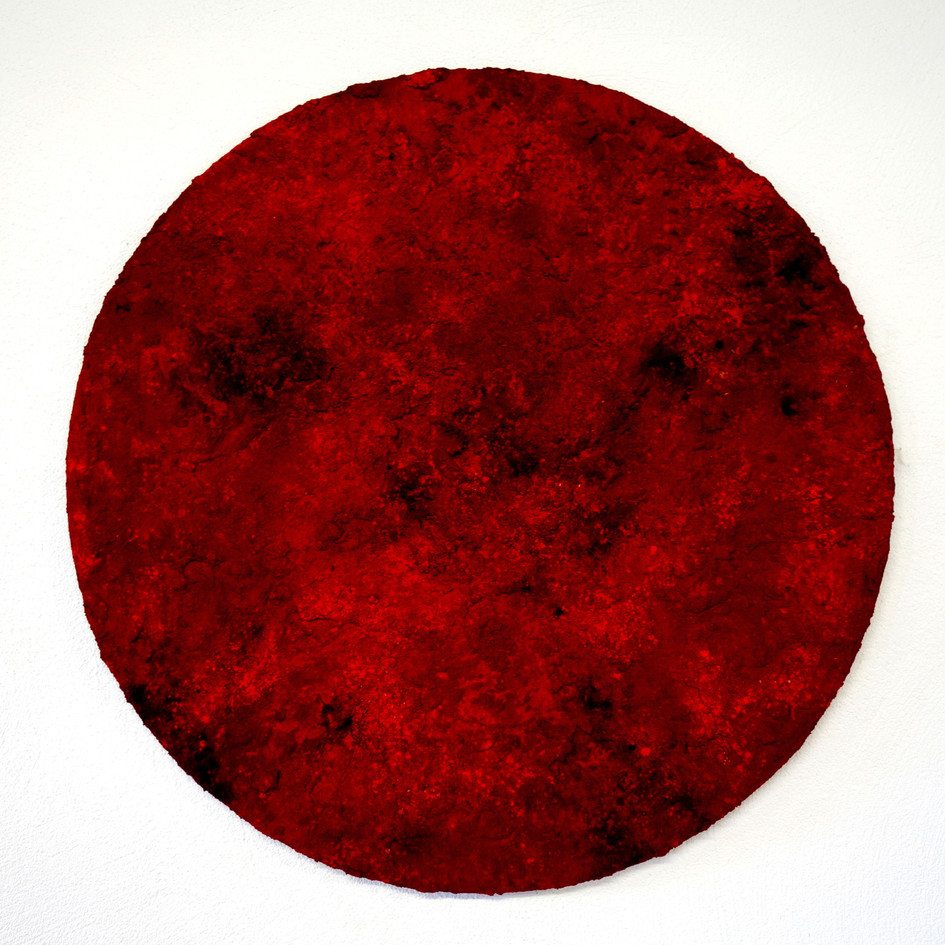 Red, pigments, soil and charcoal on wood, 100 cm, 2019.
