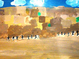 TW, age 7 Paint on paper, the Kotel