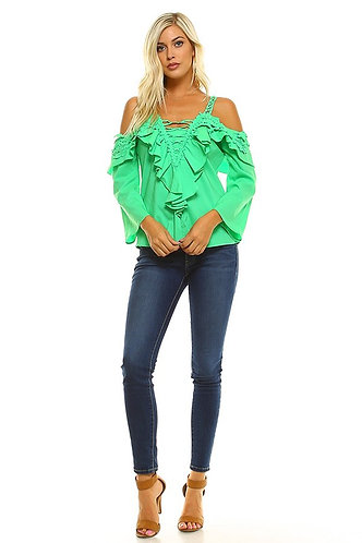 Kelly Green Cold Shoulder, Ruffled, Crochet Accent Top