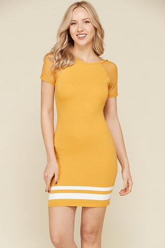 Baked Mustard Contrast Short Sleeve Screen Printed Dress