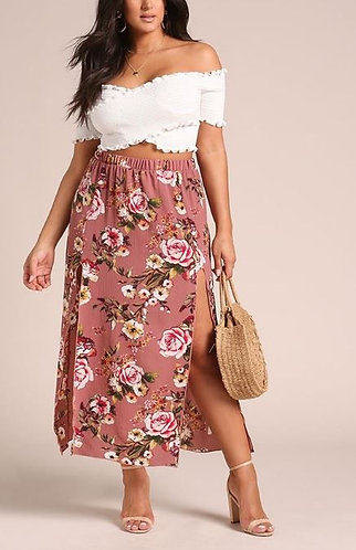 PLUS Mauve Size Double Slit Maxi Skirt