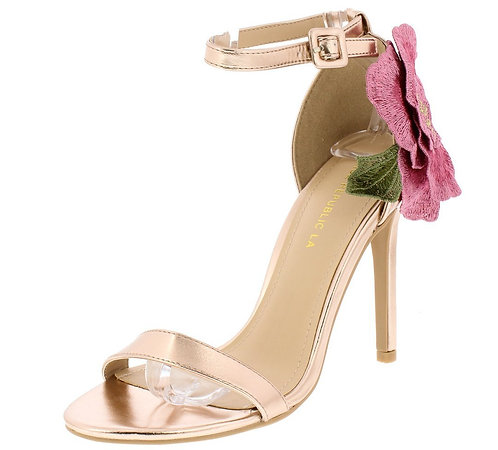Rose Gold Open Toe Ankle Strap Rose Applique Heel