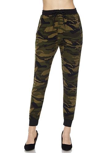 Army Camo Print Drawstring Joggers w/ Side Pockets