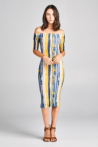 Mustard/Navy Striped Off Shoulder Bodycon Dress