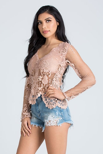 Mesh_Lace Long Sleeved Blouse