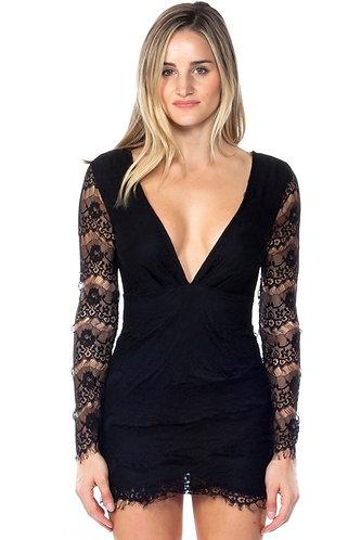 Black Lace Plunge V-Neck Open Back BodyCon Mini Dress