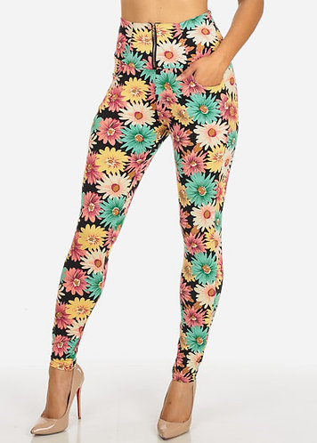 Multicolored Floral Print Skinny Pants