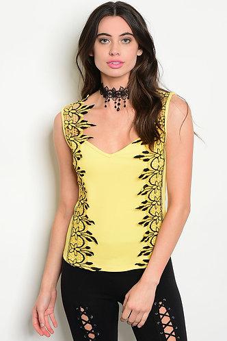 Yellow Crochet Sleeveless Top