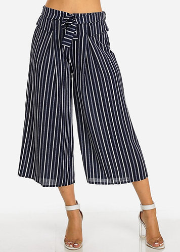 Navy Striped Chiffon High Waist Wide Legged Crop Pants