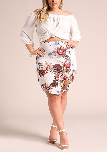 PLUS Floral Print Criss Cross Strap Bodycon Skirt