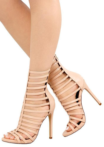 Nude Open Toe High Ankle Caged Stilettos
