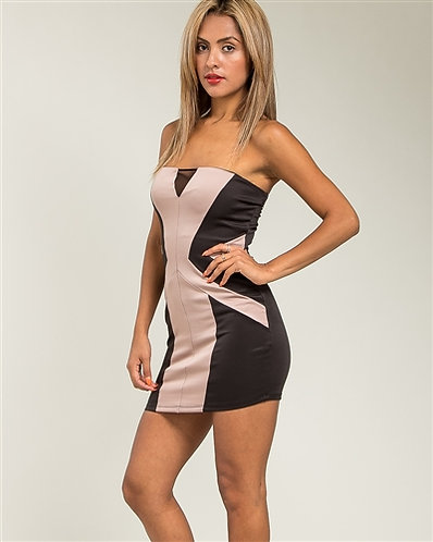 Strapless Colorblock Bodycon Mini Dress