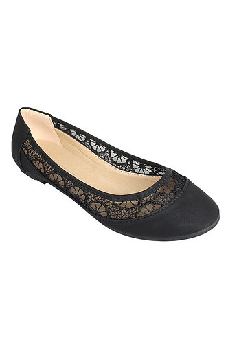 Lace accent round toe ballerina flats