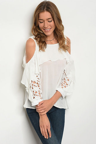Long sleeve Lace accent Cold shoulder Ruffle blouse