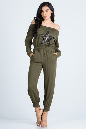 Army Green Solid Sleeved Off Shoulder Openback Jumpsuit