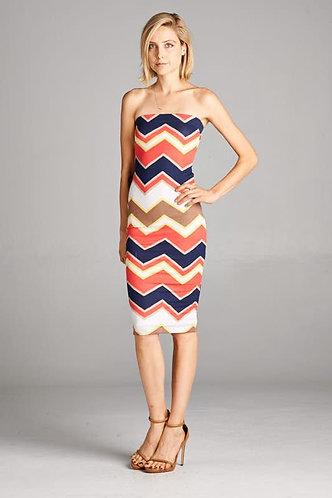 Coral Zig Zag Strapless Bodycon Dress
