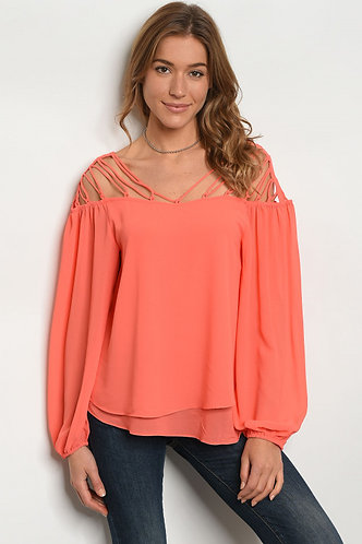 Sheer Off Shoulder Caged Detail Blouse