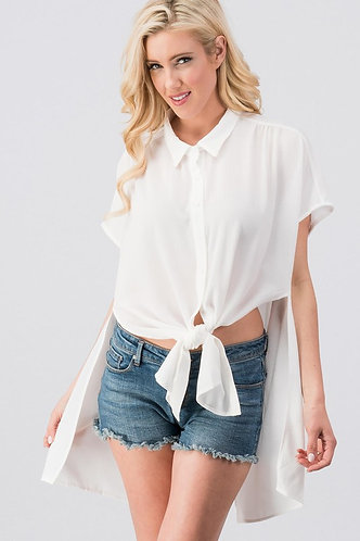 Simple woven button down shirt with knot front