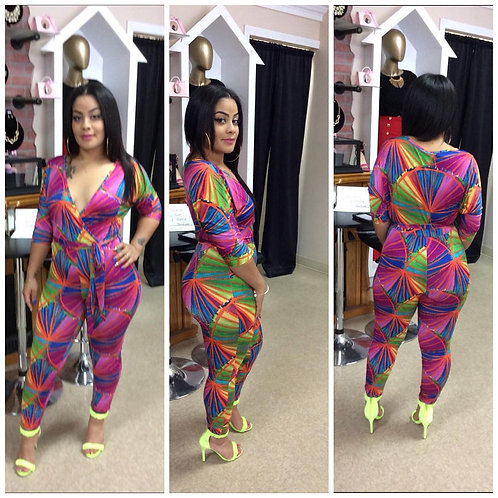 Fuschia-Multi-colored Printed Jumpsuit