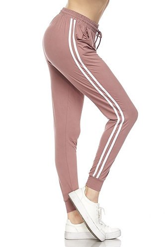 Solid Jogger Pants with Stripes