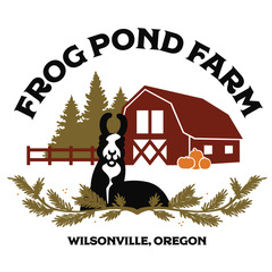 Frog Pond Farm Logo featuring a llama and barn