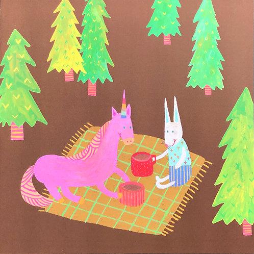 Unicorn & Bunny Art Print