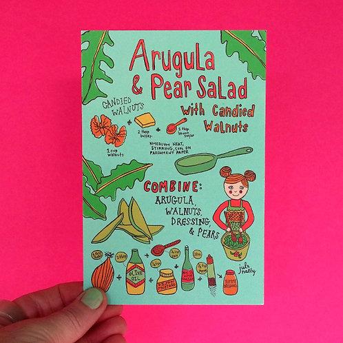 Arugula & Pear Salad Postcard 4x6