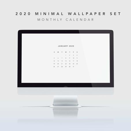 Minimalist 2020 Calendar Desktop Wallpaper