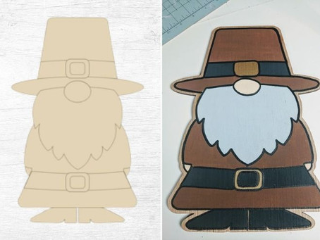 How to Paint a Thanksgiving Pilgrim Gnome Wood Cutout