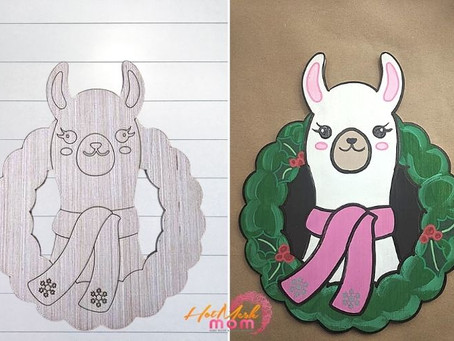 How to Paint a Llama with a Wreath Wood Cutout